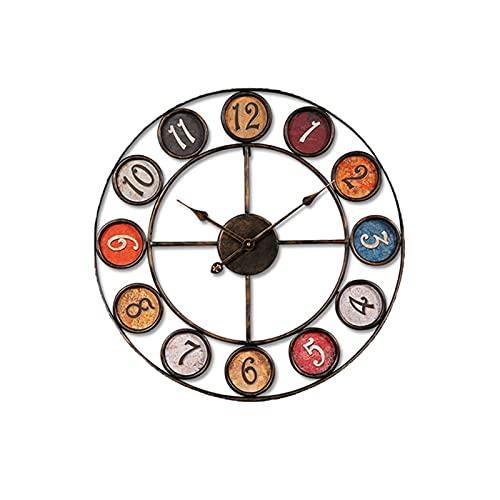 XBYUNDING Metal de Estilo Retro 24 Pulgadas /6 1 CM Reloj de Colgante Redondo Sin tictac Reloj de Pared Grande en Silencio Estudio de la Sala Se Puede Dar a los Amigos