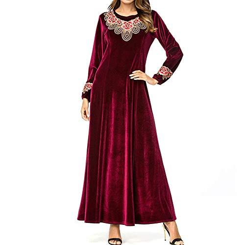 QINJLI Damenkleid, große Damenstiche Schlankes goldfarbenes Samtkleid mit muslimischem Stempel