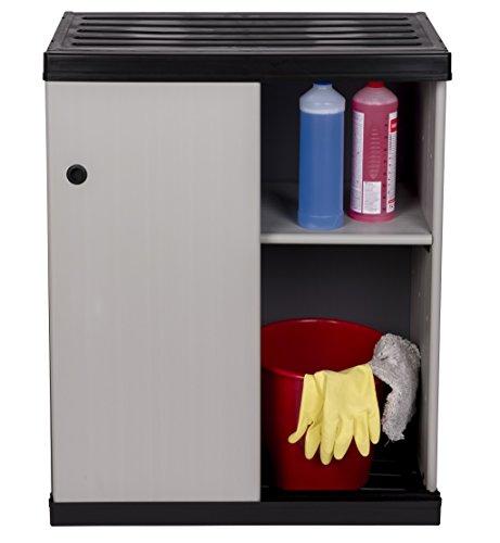 Mittlerer Kunststoffschrank Slide mit spritzwassergeschützter Deckel- & Bodenplatte und SCHIEBETÜREN - platzsparend und extra stabil für Innen und Außen