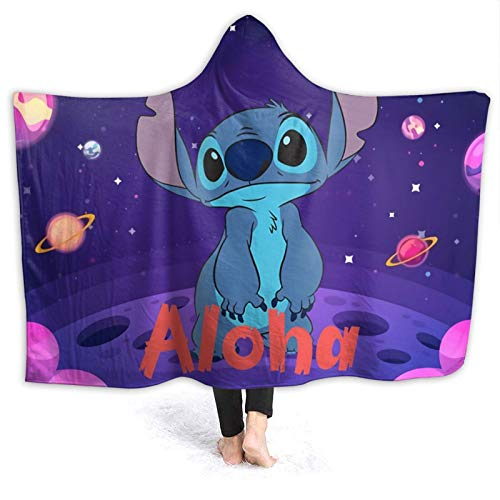 Fall Hooded Blankets for Kids Toddler, Li-Lo & Sti-Tch Baby Anime Wearable Blankets for Christmas, Travel, Study, Washable Soft Throw Blanket, 60x50 Inch