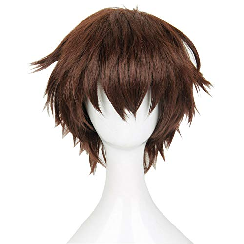 Séraphin Of The End Yoichi Saotome Short Brown Heat Resistant Hair Cosplay Costume Wig - Free Wig Cap Brown