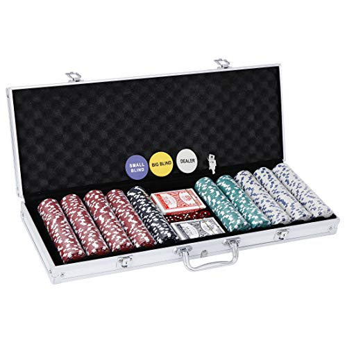 JungleA Poker Chip Set 500 Dice Style Clay Casino Chips with Aluminum Case, 11.5 Gram Chips for Texas Holdem Blackjack Gambling