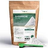 Vit4ever D-Mannose Pulver - 200 g - 100 Tagesportionen mit 2 g (3,3 Monate Vorrat) - Laborgeprüft - Rein & ohne Zusätze - Hochdosiert & Natürlich - Naturbelassen - Vegan - Mannose