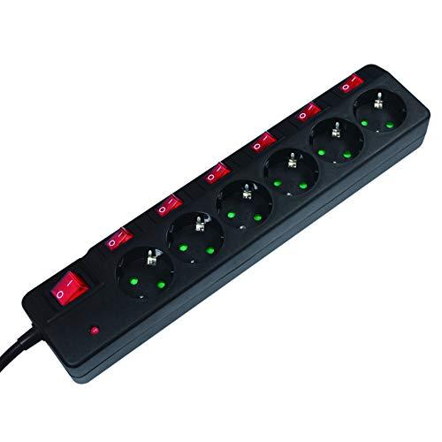 LogiLink LPS233 6-fach Steckdosenleiste (Schutzkontakt) - CEE 7/3, mit 6x Ein/Aus Schalter mit Überspannungsschutz und Kindersicherung Schwarz