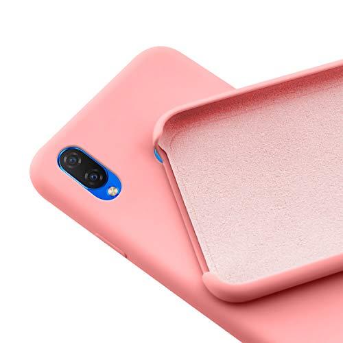 N NEWTOP Custodia Cover Compatibile per Huawei P Smart Plus, Ori Case Guscio TPU Silicone Semi Rigido Colori Microfibra Interna Morbida (Rosa)