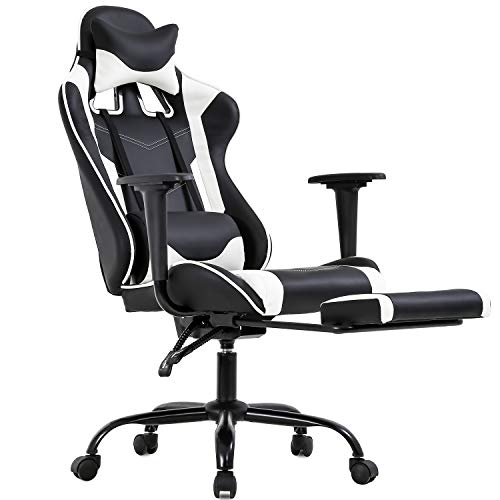 PC Gaming Chair Ergonomic Office Chair Desk Chair PU Leather Racing Executive Modern Swivel Rolling High Back Computer Chair with Arms Footrest Lumbar Support for Women Men Adults Girls chair gaming