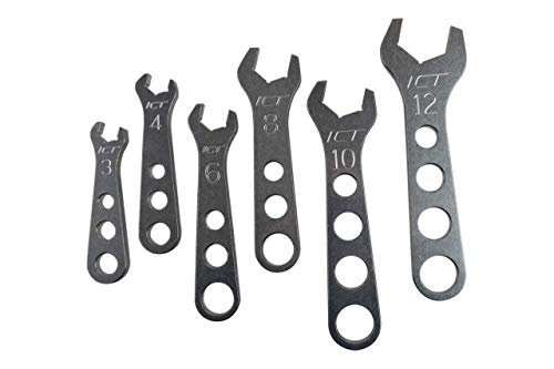 ICT Billet 6 piece Billet Aluminum Wrench Set 3 4 6 8 10 12 AN Fittings Thread Lightweight Ergonomic Compact Handle Designed & Manufactured in the USA 551465