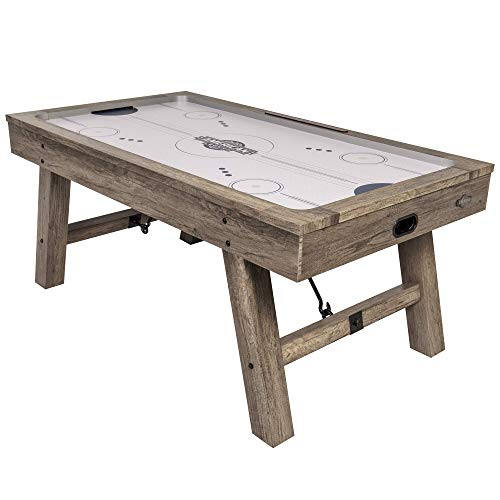 American Legend Brookdale Air-Powered Hockey Table with Rustic Wood Grain Finish, Angled Legs and Turnbuckle Accents Brown