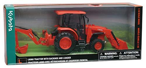New Ray- Traktor Kubota mit Godet und Schaufel (Light & Sound) 1/18° -33123 SS Spielzeug, Mehrfarbig