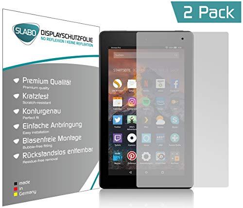 Slabo 2 x Bildschirmschutzfolie für Amazon Fire 7-Tablet mit Alexa (17,7 cm 7