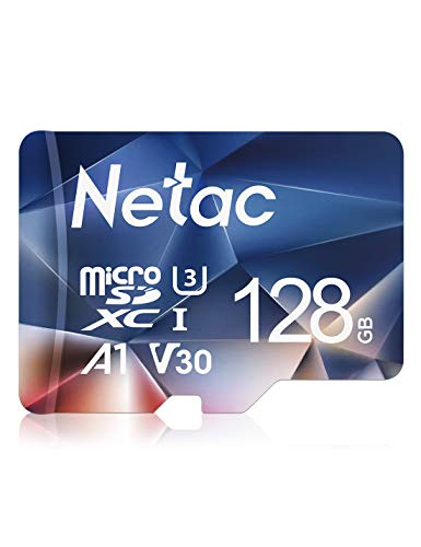Netac Carte mémoire microSDXC, 128G Haute Vitesse UHS-I Carte Micro SD jusqu'à 100MB/S, A1, U3, C10, V30, 4K, 667X Carte TF pour Drone/Dash Cam/Camera/Phone/Nintendo-Switch/PC/Tablette