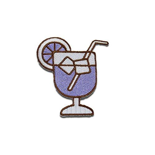 Cocktail con fruta y cubitos de hielo - Parches termoadhesivos bordados aplique para ropa, tamao: 7,1 x 5,8 cm, Farbvariante:prpura