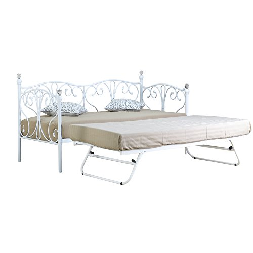 Comfy Living 2ft6 Small Single Crystal Day Bed & Trundle in White with 2 Tanya Mattresses