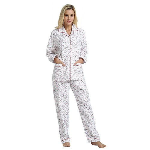 GLOBAL Women's Sleepwear Set, 100% Cotton Long Sleeve Button Down Pajama Set with Top Pants