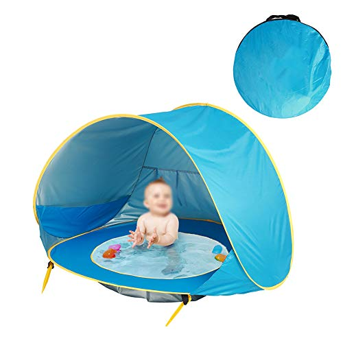 ZXGQF Pop Up Baby Beach Tent for 1-2 Person, Outdoor Shelter Portable Automatic Sun Shelter UV Protection Windproof, for Camping Beach Picnic Outdoor Home Garden Indoor (Blue)