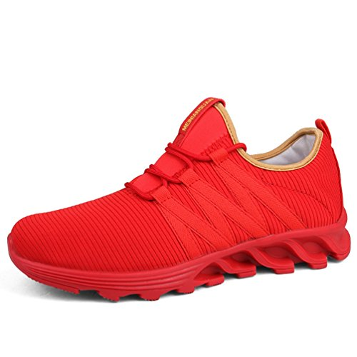 LFEU Mixte Adulte Chaussure de Sport Femme Homme Casual Sneaker Running Course Jogging Randonnée Textile Respirant Rouge 42