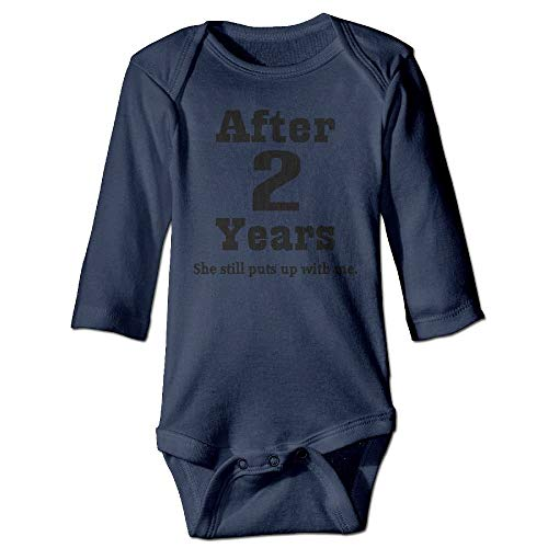 Body de manga larga para beb, unisex, para 2 aniversario (divertido), color azul marino