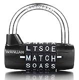 Bloqueo de 5 letras Bloqueo de código Gabinete grande de gimnasio Vestuario con candado Candado de protección Wordlock PL-004-BK Candado combinado de 5 llaves, Negro