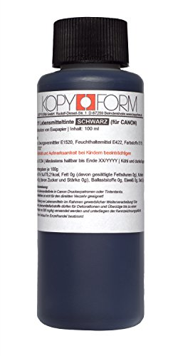 KOPYFORM Lebensmitteltinte 100ml Schwarz für Canon-Drucker (KOL111)