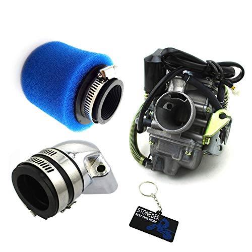STONEDER Bleu Filtre à air d'admission de collecteur de PD24 carburateur pour Yerf-Dog GX150 Spiderbox 150cc Go Cart Lance Vintage Baja SC150 SC125 Baja Motorsports Baja BA150 AT150SS ATV