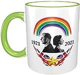 Taza Queen Elizabeth II y Prince Philip UK Monarch 1921-2021, verde