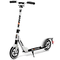 WHITE FOLDING KICK SCOOTER FOR TEENS AND ADULTS – Cruise along in style on our compact kick scooter! Featuring smooth gliding wheels for maximum shock absorption and a lightweight alloy deck FOLDING 2 WHEEL SCOOTER – Our White scooter for teenager ha...