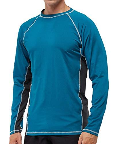 Arcweg Camiseta Deportivas Hombres Rash Guard con Filtro de Protección UPF 50+Mangas Largas Alta Elasticidad Secado Rápido Surf Natación Verano (Azul y Gris, M)