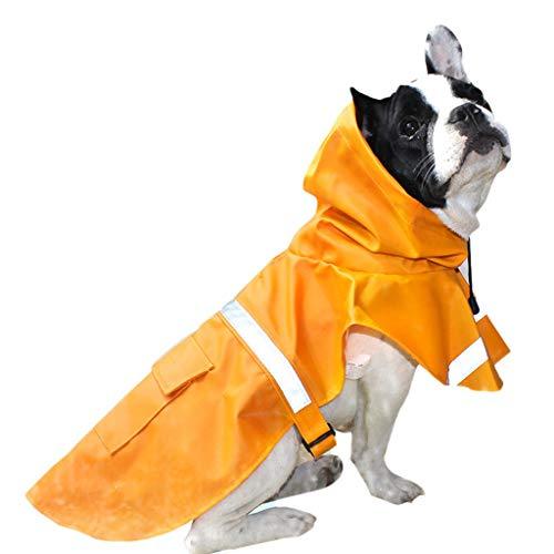 Regenjas Hond Poncho Waterdichte Zonnescherm Cap Reflecterende Strip Grote Hond Huisdier Kleding Outdoor Sport Oranje MUMUJIN