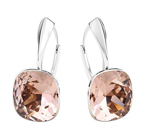 Crystals&Stones - Meravigliosi orecchini quadrati, grandi, diversi colori disponibili, in argento 925, con cristalli Swarovski Elements, da donna e Argento, colore: Vintage Rose, cod. 7