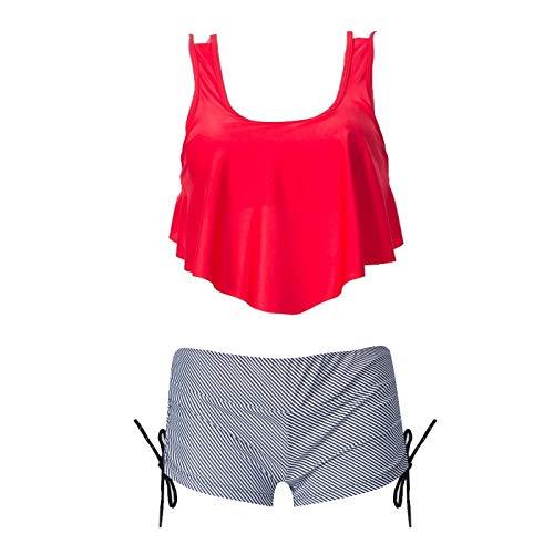 HOSD Bindeseil bedruckter Boxer geteilter Badeanzug gekräuselter mehrfarbiger Bikini mit hoher Taille