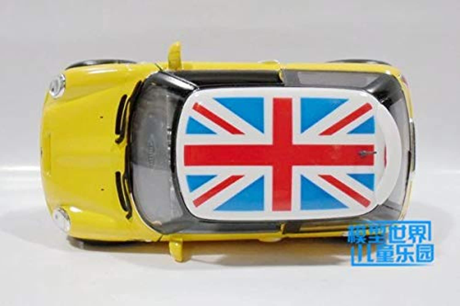Generic  KiNSMART Toy Diecast Model 1 28 Scale Mini Cooper S Britain Pull Back Car Educational Collection Gift Kid Yellow