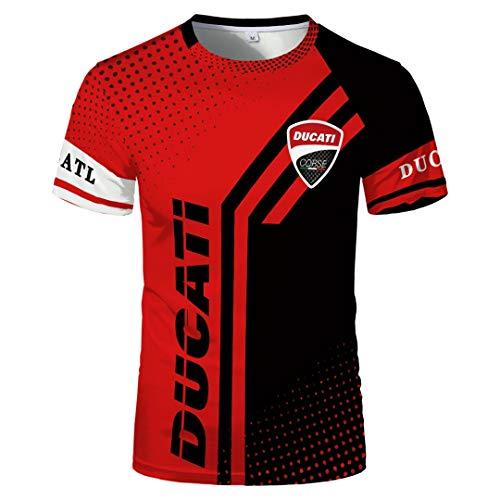Herren Sommer Rundhalsausschnitt Kurzarm Ducati Bedruckte Punkte Kontrastfarbe Pullover T-Shirt Trendy Simple Breathable Slim Halbärmeliges Sporthemd S Bis 5XL Größe Optional (1,4XL)