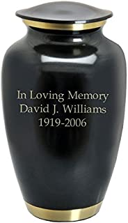 Memorial Gallery Custom Engravable Dark Pewter with Two Gold Bands Cremation Urn (11