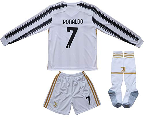 FCRM 2020/2021 New #7 Kids Home Long Sleeve Soccer Jersey & Shorts Youth Sizes (White, 5-6 Years)