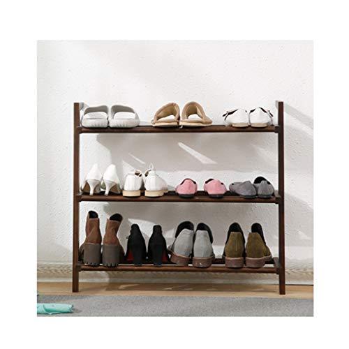 Zapatero de madera para almacenamiento de zapatos, estante de madera para armarios, 3 niveles, se puede utilizar en la cocina, pasillo de entrada zapatero (color: marrón)