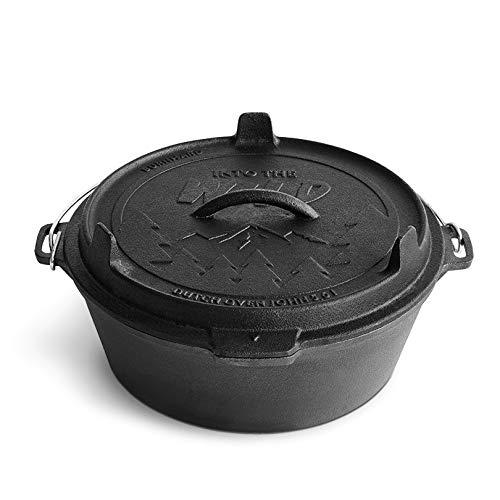 Burnhard Dutch Oven John Feuertopf mit Deckel 5,6 L, Schmortopf aus Gusseisen, Gusstopf, Grilltopf inkl. Deckelheber