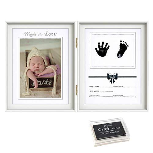 ベビーフレーム 手形 足形 フォトフレーム ベビー 成長記録 置き掛け兼用 無毒で安全 赤ちゃん 出産祝い プレゼント 内祝い ギフト 男の子 女の子 写真立て