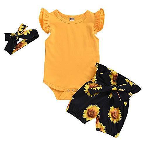 Geagodelia Babykleidung Set Baby Mädchen Kleidung Outfit Body Strampler + Shorts Neugeborene Kleinkinder Weiche Strand Babyset Sommer T-28221 (0-6 Monate, Gelb & Schwarz 669)