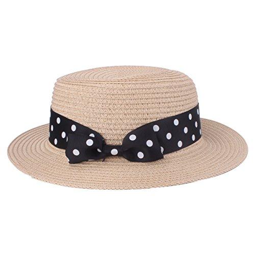 Cappello da donna da donna Cappello di paglia da donna Cappellino rotondo con visiera piatta Cappello di paglia estivo (9206 Beige)