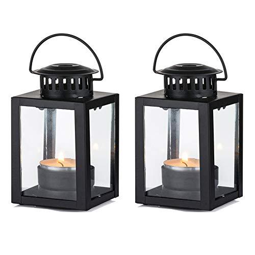 Nuptio Laternen für Kerzen Gartenlaternen, 2 Stück Vintage Stil Hängen Kleine Laternen für Teelicht Kerze, Schwarze Kerze Teelichthalter für Indoor Outdoor Events Geburtstagsfeier Hochzeit
