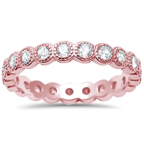 Oxford Diamond Co Simulated Gemstone & Cubic Zirconia Antique Style Bezel Set Eternity Stackable .925 Sterling Silver Ring Sizes 4-10