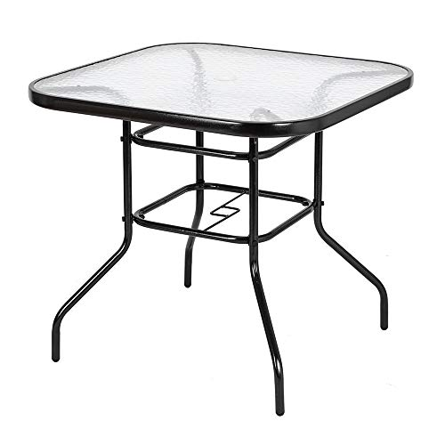 VINGLI Outdoor Dining Table, 32' Square Patio Bistro Tempered Glass Table Top with Umbrella Hole, Outside Banquet Furniture for Garden Pool Side Deck Lawn