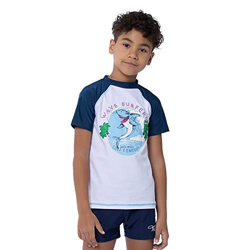 TIZAX Camiseta natación con protección Solar para niños Traje de baño de Manga Corta UPF50+ Rashguard para Surf/Nadando/Buceo/Playa Blanco 116