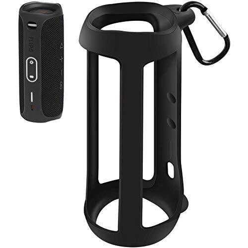 Silikon TPU Tasche kompatibel für JBL Flip 5 Bluetooth Box,Gel weiche Hautabdeckung, wasserdichte Gummihülle mit Karabiner