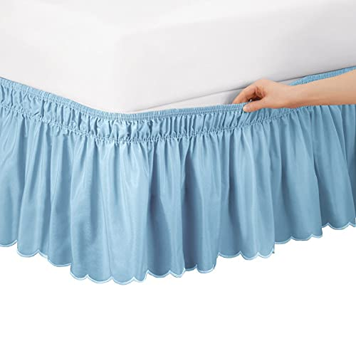 Collections Etc Scalloped Elastic Bed Wrap Around, Easy Fit, Dust Ruffle Bedskirt, Blue, Queen/King