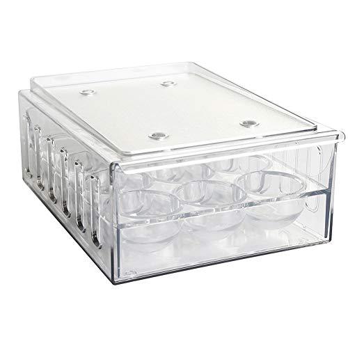 Gcroet Titular del Huevo Bandeja de Almacenamiento Frigorífico Organizador del cajón contenedor Caja Organizador de plástico Transparente con Tapa 12 Hoyos Suministros de Cocina