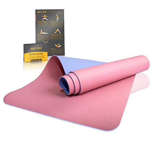 High Pulse Esterilla de yoga Super Grip - Extra antideslizante, con agarre: estera resistente al sudor + correa para yoga, pilates, fitness – para principiantes y yoguis experimentados (rosa y azul)