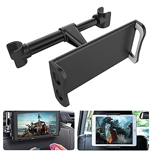 Zommuei Tablet Halterung Auto, Universal Tablet Halter Kopfstütze Kfz Kopfstützen Halterung für iPad Air Mini 2 3 4, Pro 9.7, 10.2, 10.5, Samsung Tab, Smartphone und Tablet mit 4.4~11 Zoll - Schwarz