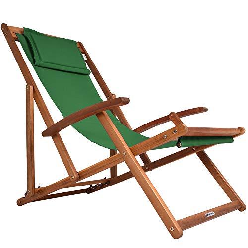 Deuba Sedia a Sdraio in Legno Pieghevole Traspirante con poggiatesta sedie Spiaggia Poltrona Giardino Mare Verde