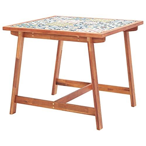 VIENDADPOW Mesa Comedor de jardín Madera y Superficie Azulejos 88x88x75 cm